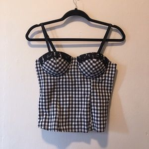 Plaid and lace bustier top